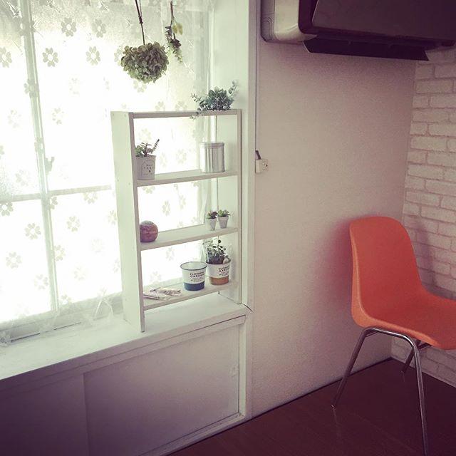 先週塗った古い棚は、打ち合わせスペースの出窓に。ごついエアコンが気になるが、まだまだ使えるので、我慢。笑