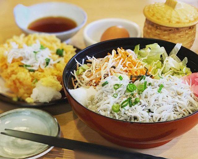 江ノ島で、しらす丼。お昼から食べすぎ。#とびっちょ本店